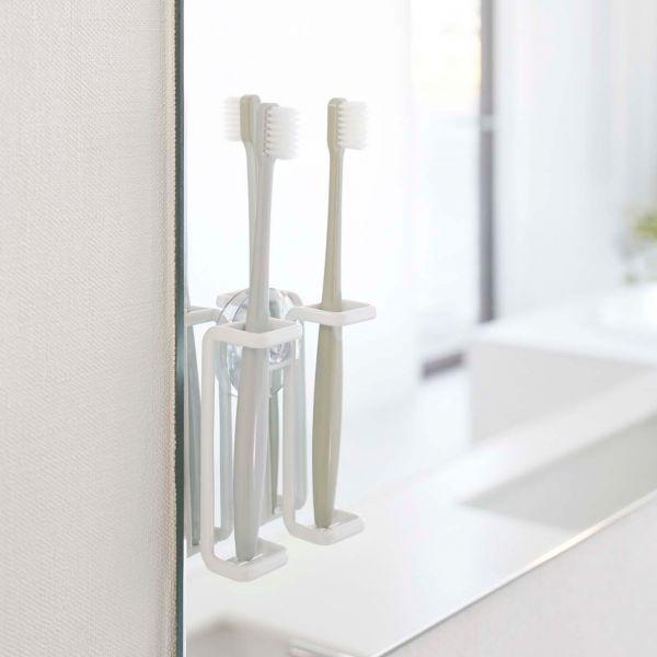 Porte brosse a dents blanc design et pratique - Porte brosse a dent ventouse ...
