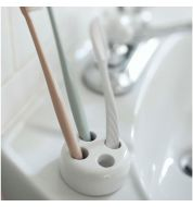 Porte brosse à dents blanc rond céramique Yamazaki