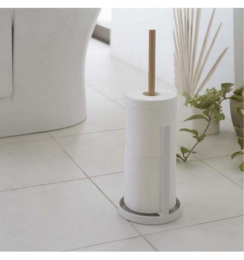 Derouleur papier cuisine design bois et blanc porte - Support papier toilette ventouse ...