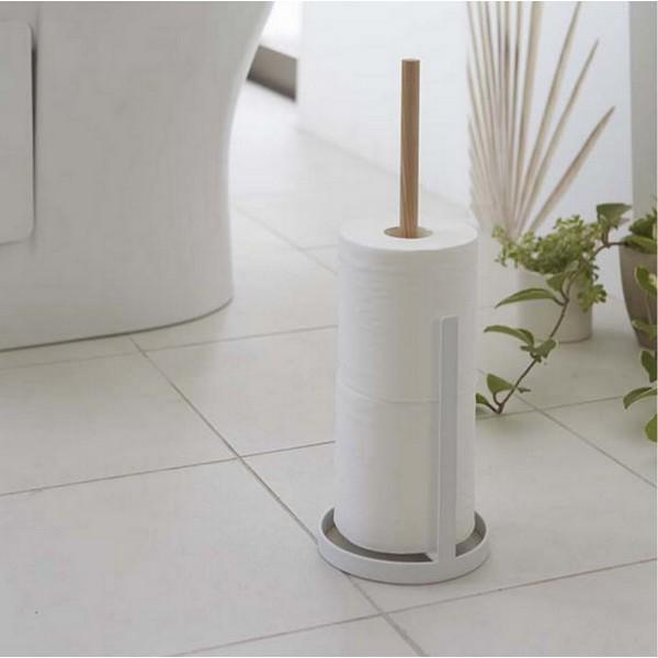 Derouleur papier cuisine design bois et blanc porte rouleau pas cher - Porte papier toilette bois ...