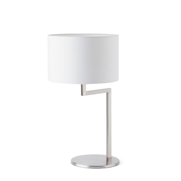 • lampe à poser • lampe de chevet blanche et nickel creta faro