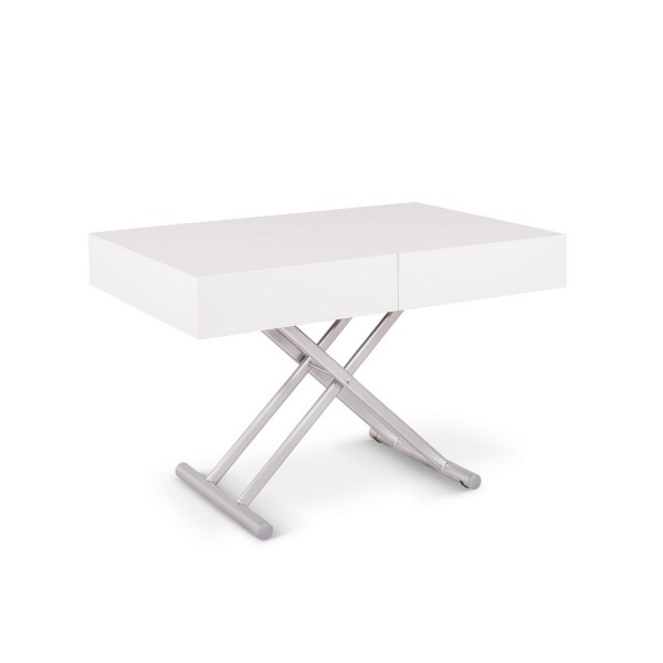 Table salon extensible blanche tables relevables - Table relevable blanche ...