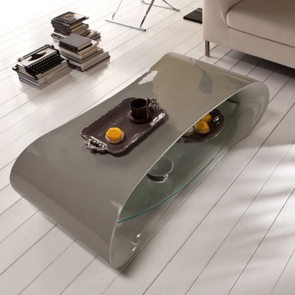 Table basse design table basse grise avec tag re en verre - Table design grise ...