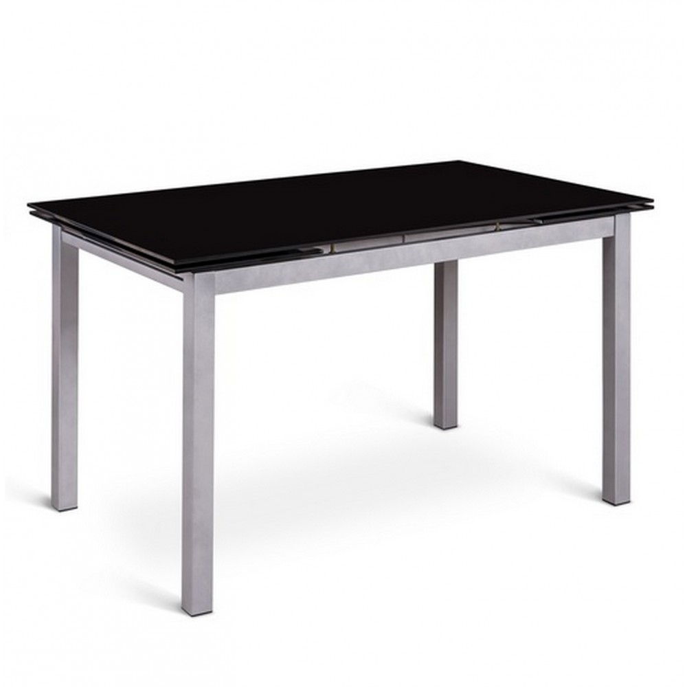 Table noire avec rallonge maison design for Table salle a manger rallonges integrees
