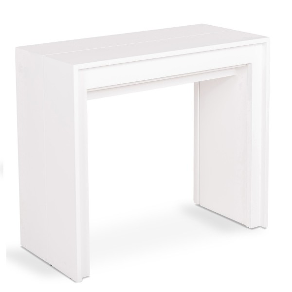 Table console extensible blanche transformable en table for Table blanche extensible