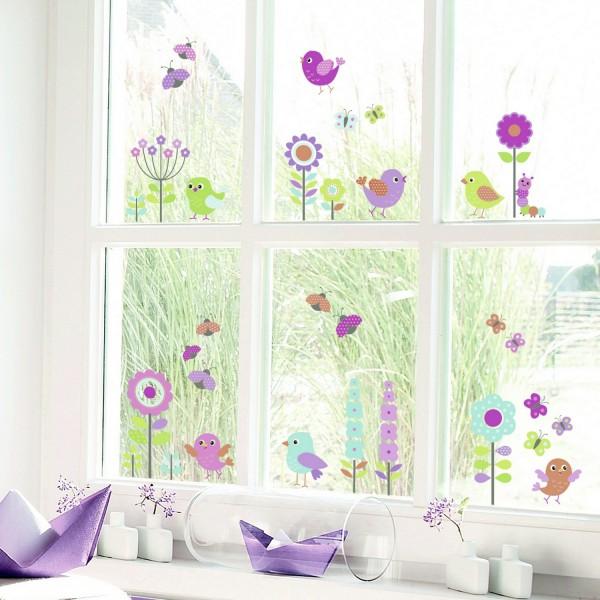 Sticker enfant color oiseaux fleurs stickers fenetre - Stickers pour fenetre cuisine ...