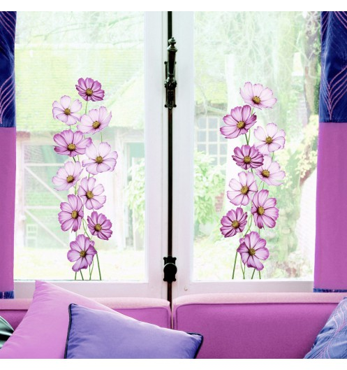 Sticker fleurs vitres sticker design for Decoration vitres fenetres