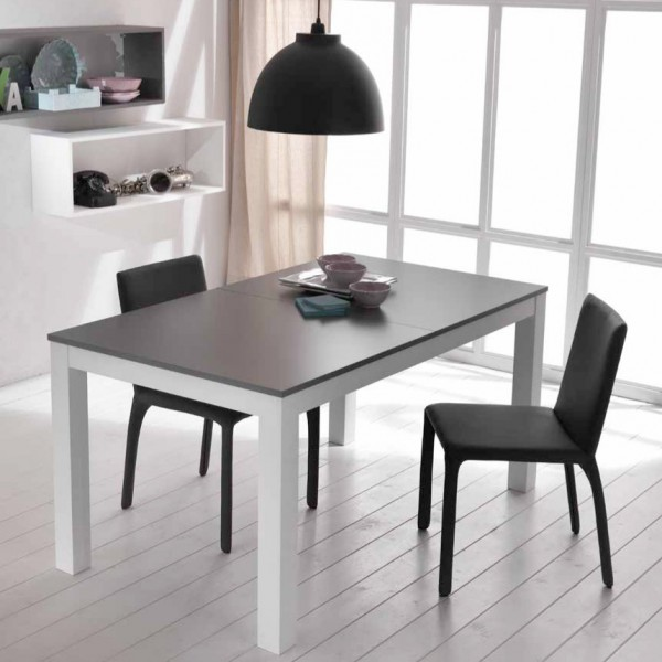 Table extensible grise et blanche table salle manger design - Salle a manger blanche et grise ...