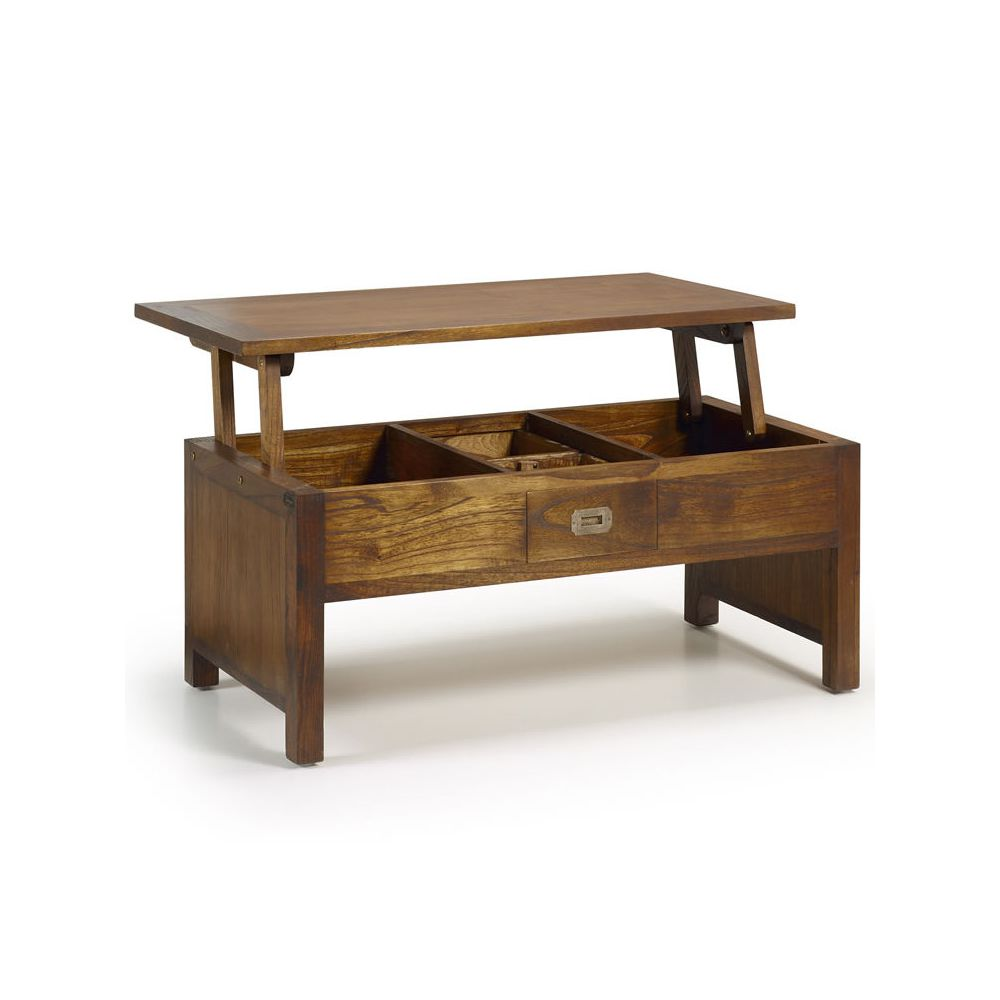 Table basse bois brut design - Table basse relevable bois ...