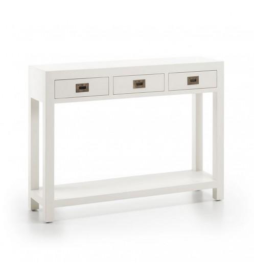 Meuble d 39 entr e avec tiroirs console blanche for Meuble 20 cm de large