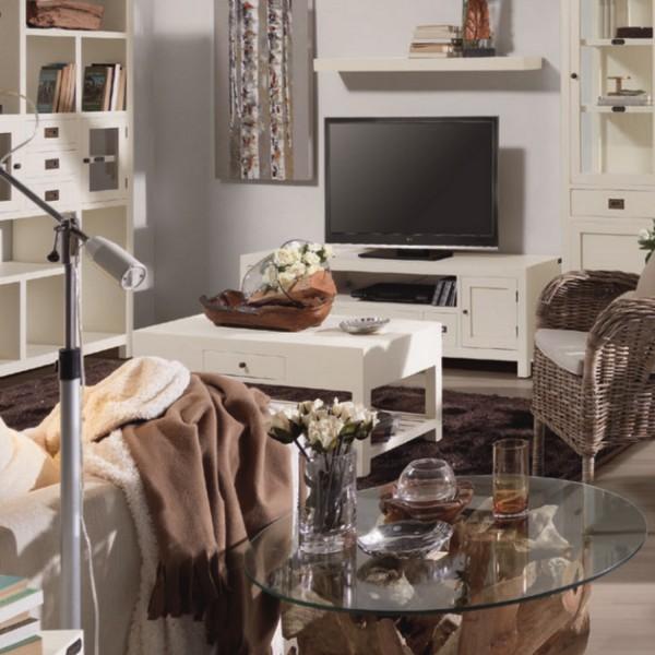Meuble Tv Bois Massif Blanc : ? Mobilier ? Meuble TV ? Meuble tv bois massif laqu? blanc