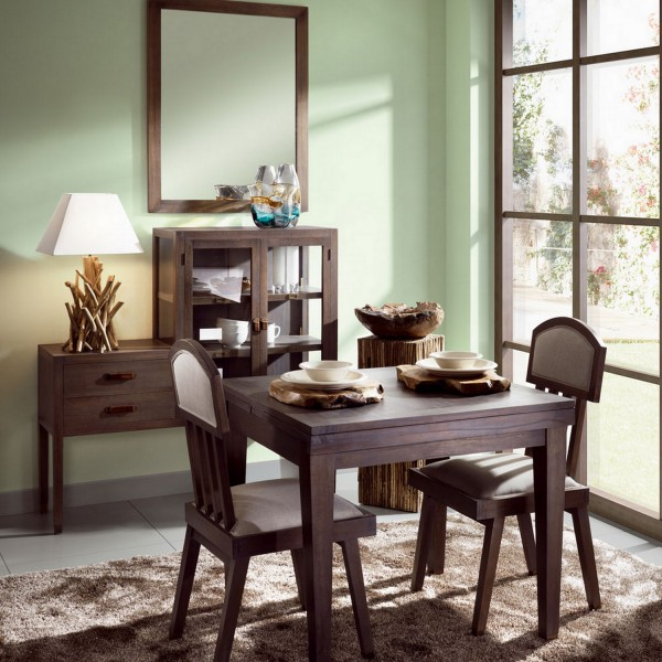 table carr e extensible table manger en bois. Black Bedroom Furniture Sets. Home Design Ideas
