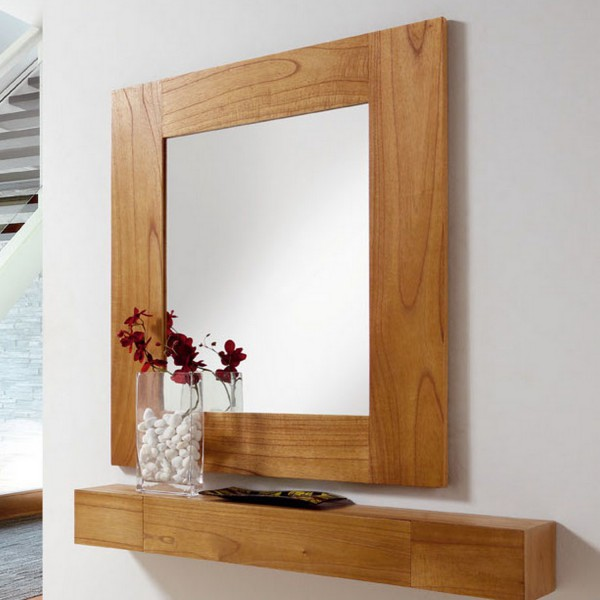 miroir salon en bois miroir mural marron clair. Black Bedroom Furniture Sets. Home Design Ideas