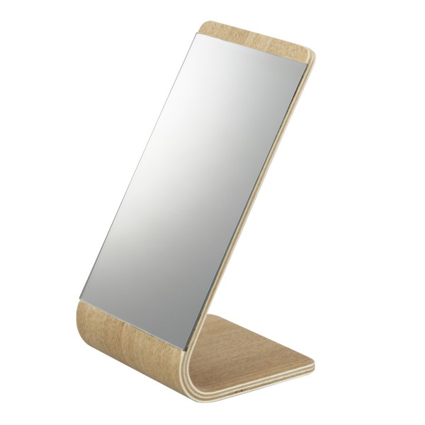 Miroir de table beige yamazaki for Miroir a poser sur table