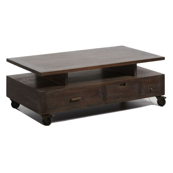 table basse bois roulette. Black Bedroom Furniture Sets. Home Design Ideas