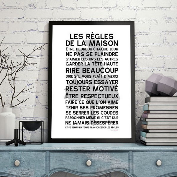 affiche vintage mes mots d co affiche poster. Black Bedroom Furniture Sets. Home Design Ideas