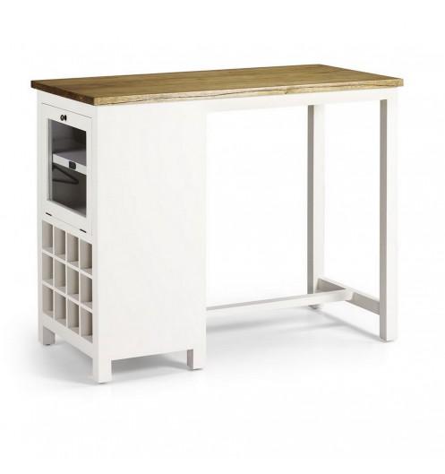 Table design avec casier bouteille plan de travail en bois - Table de cuisine haute avec rangement ...