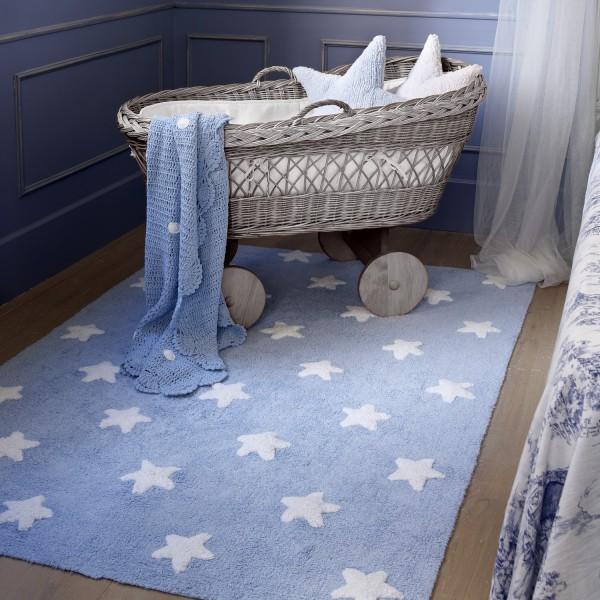 tapis lavable enfant etoile bleu - Tapis Chambre Bebe Bleu