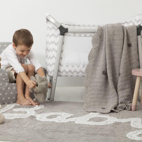 Couleur Peinture D Un Salon :  Décoration • Tapis enfant • Tapis chambre bébé lavable gris