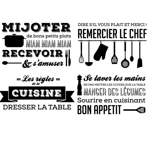 stickers cuisine les r gles de la cuisine sticker mural caselio. Black Bedroom Furniture Sets. Home Design Ideas