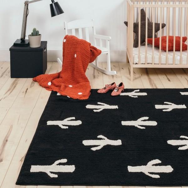 Tapis salon original cactus tapis noir et blanc lavable for Tapis salon original