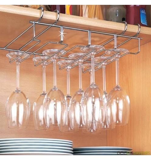 Accroche verre fil d 39 acier chrom accessoire rangement for Accessoire de rangement cuisine