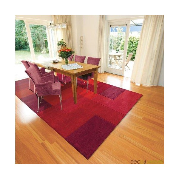Tapis salon arte espina logarithm rouge deco et for Salon tapis rouge