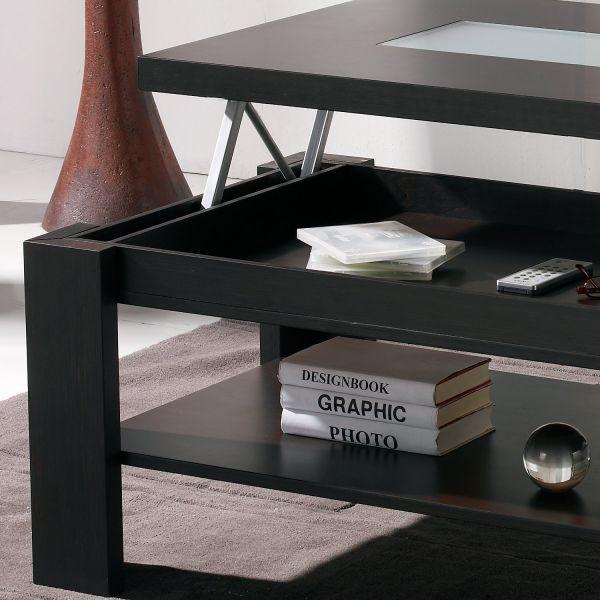 Table basse bois couleur wenge for Table basse relevable bois