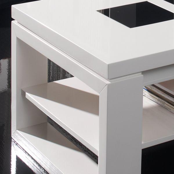 Table basse relevable bois blanche deco et saveurs for Grande table basse blanche