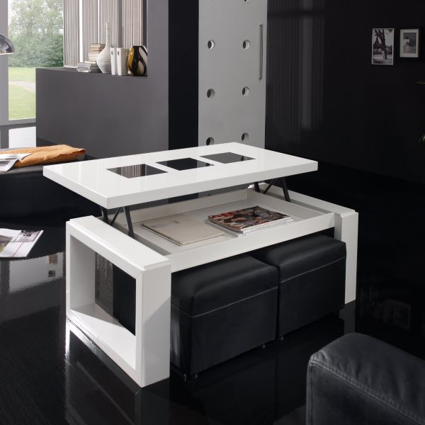Table relevable solide - Table basse relevable blanche ...
