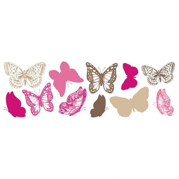 stickers papillon rose d coration murale. Black Bedroom Furniture Sets. Home Design Ideas