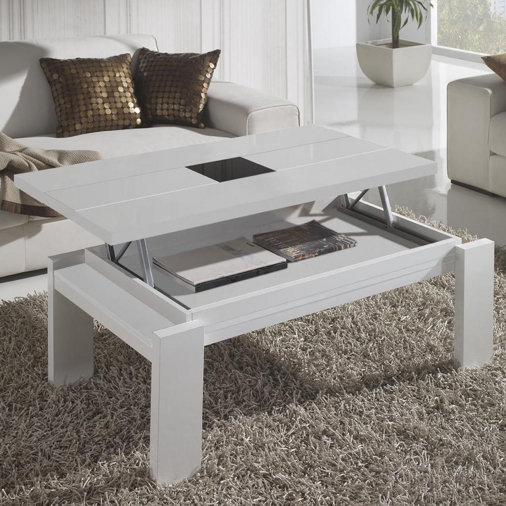 Table basse qui se leve - Table de salon blanche ...