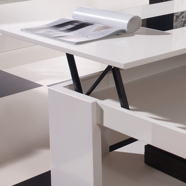 Table basse relevable design blanche meuble - Table basse relevable blanche ...