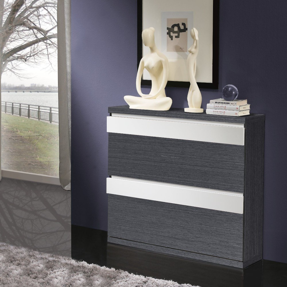 meuble chaussure gris et blanc. Black Bedroom Furniture Sets. Home Design Ideas