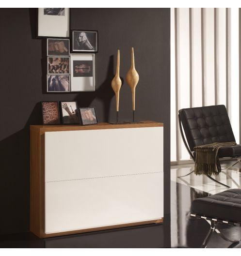 Meuble chaussures 16 paires blanc et cadre bois deco for Commande meubles concept