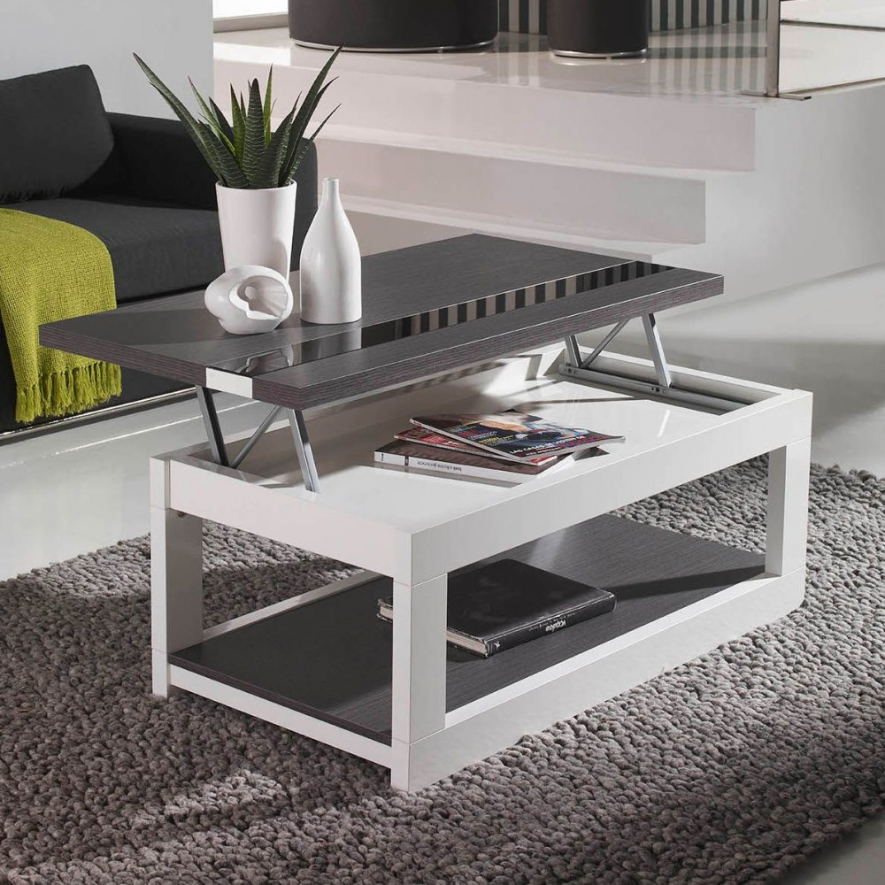 Table basse relevable plateau verre - Table de salon noire ...