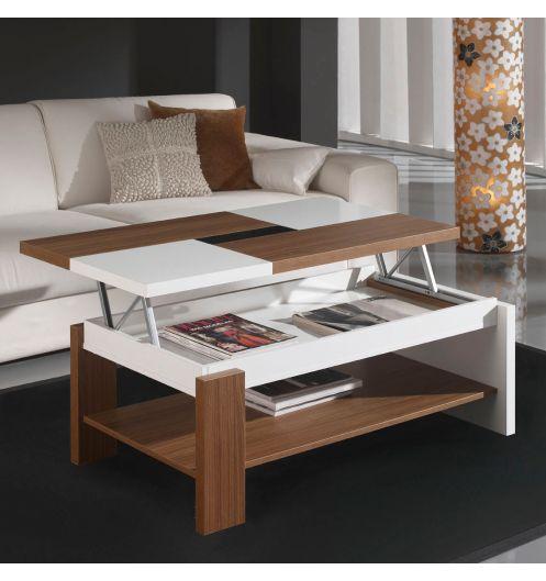 Table basse relevable plateau bois et blanc mobilier et d co for Table bois et blanc
