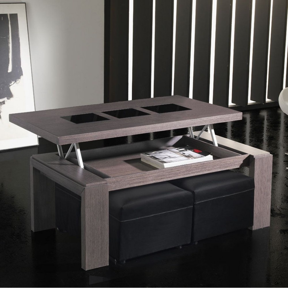 Table basse relevable teck for Table de salon verre et bois