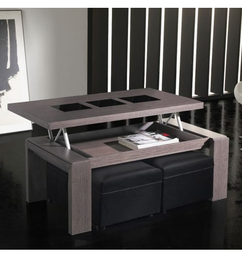 table basse avec pouf en bois. Black Bedroom Furniture Sets. Home Design Ideas