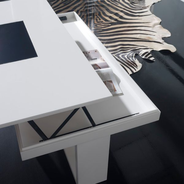 Table basse relevable design blanche placage ch ne d co - Table relevable design ...