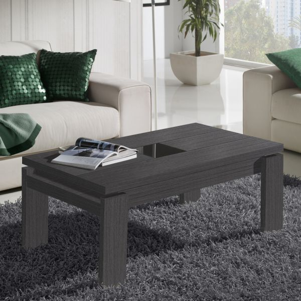Table basse relevable grise centre verre mobilier for Table de salon relevable