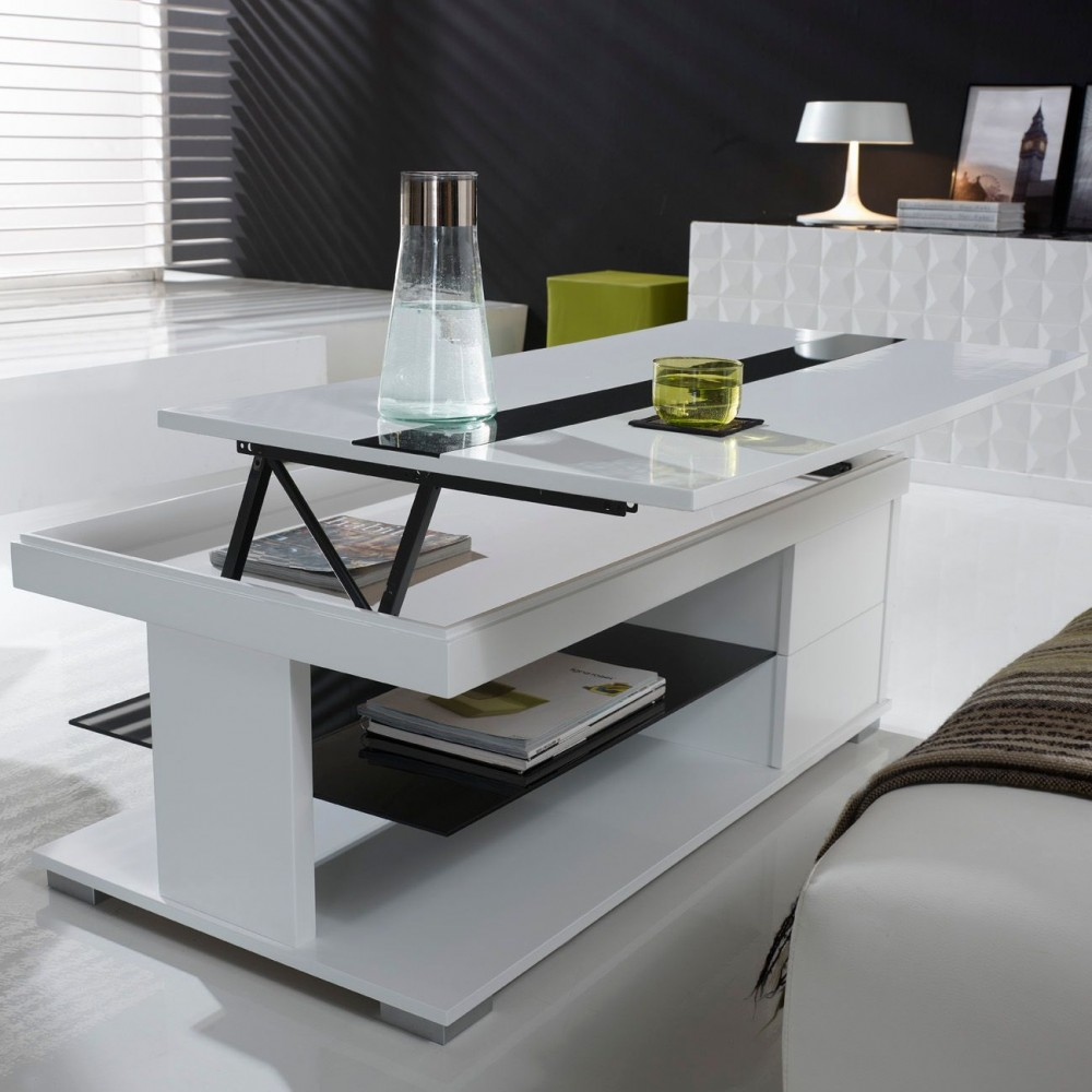 Table basse relevable bar for Table design blanche