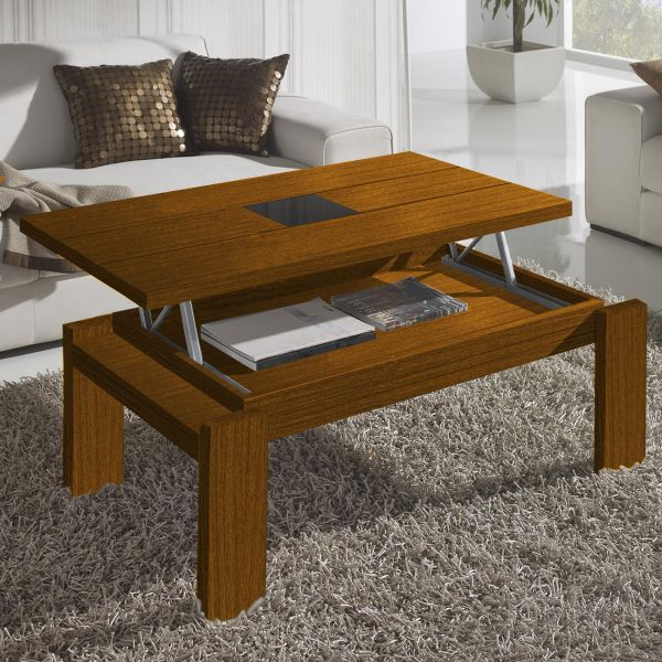 Table basse relevable bois noyer centre verre d co et - Table de salon reglable en hauteur ...