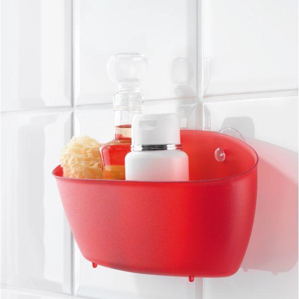 Panier rangement douche rouge koziol rangement salle de bain for Panier rangement salle de bain