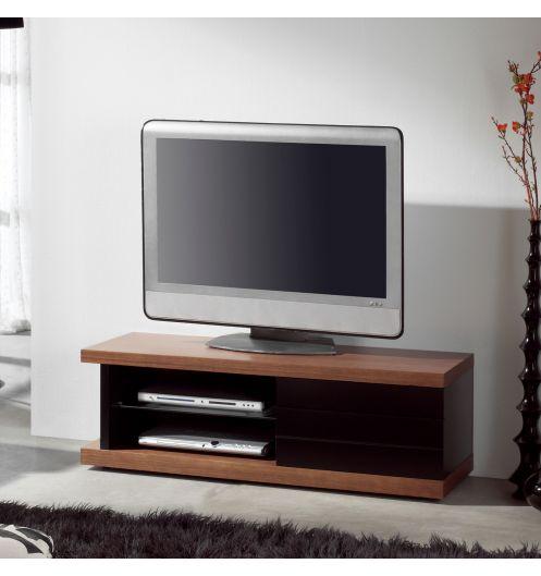Meuble Tv Bois Et Noir : Accueil • Mobilier • Meuble Tv • Meuble Tv Noyer Laqué Noir