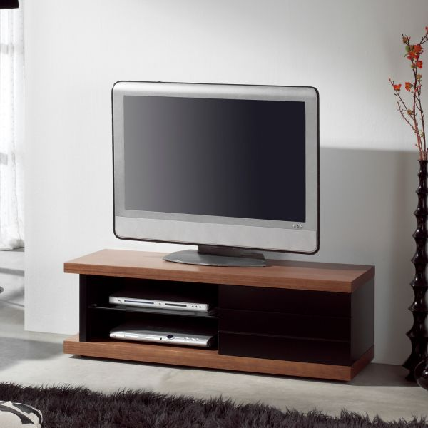 meuble tv bois et noir. Black Bedroom Furniture Sets. Home Design Ideas