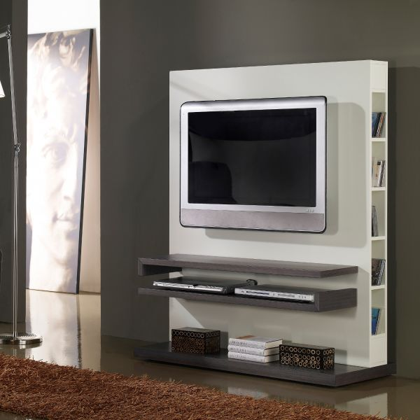Meuble tv design gris et blanc laqu deco et saveurs for Photo meuble tv design