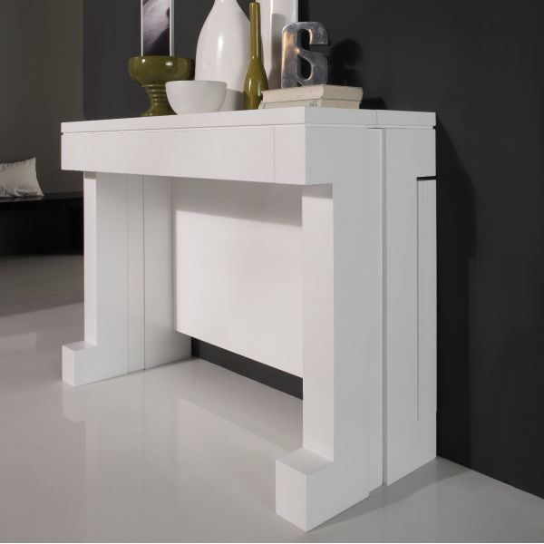 Table console extensible laqu e blanc mobilier for Table a manger console extensible