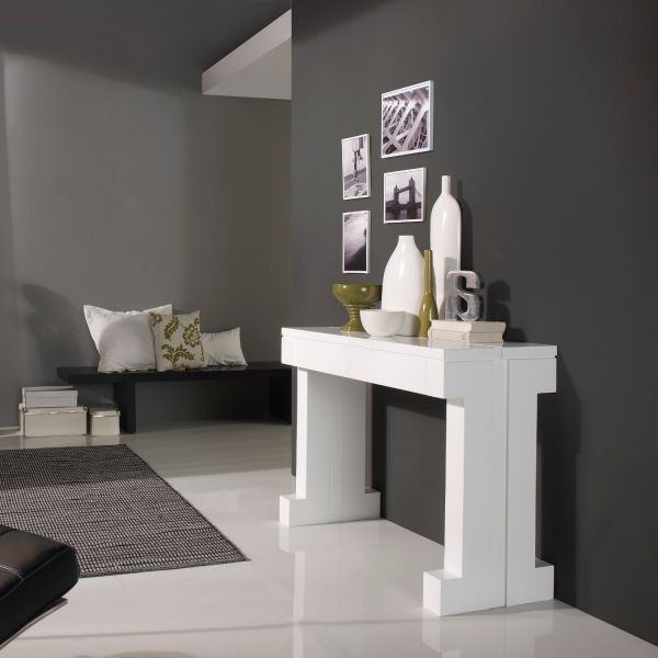 Table console extensible laqu e blanc mobilier for Table salle a manger gain de place