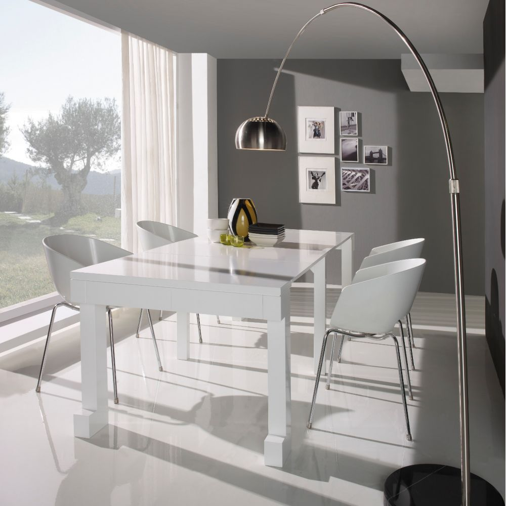 Table laquee blanche - Table console extensible blanc laque design ...